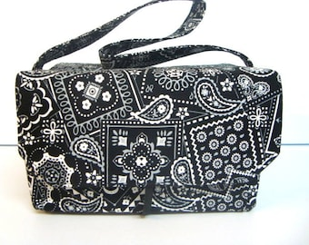 Super Large 6 inch Depth Fabric Coupon Organizer, Receipt Budget Organizer - Black and White Bandana  -  Or - Pick Your Size