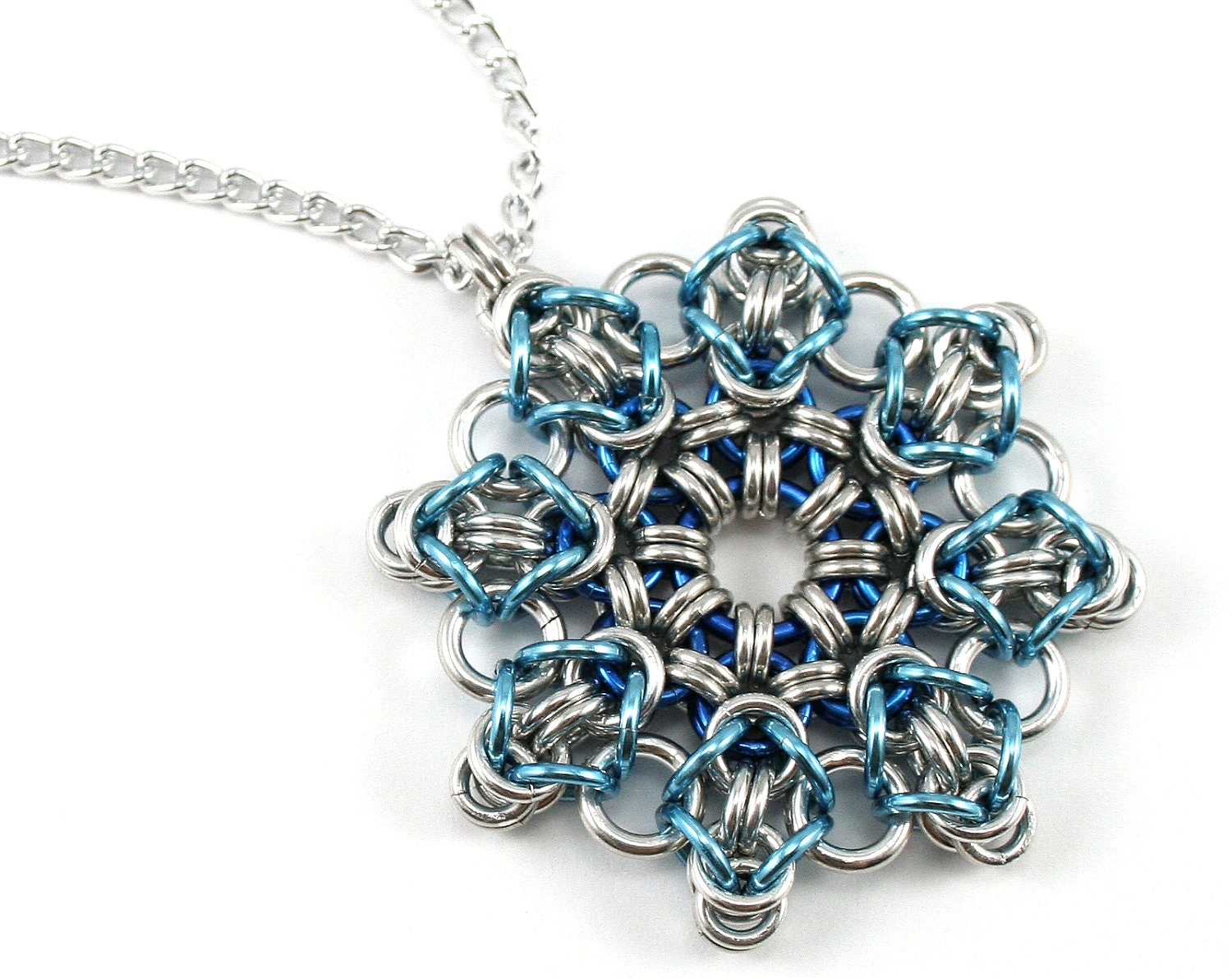 Ice blue snowflake chainmail necklace winter christmas snow zoom mozeypictures Image collections