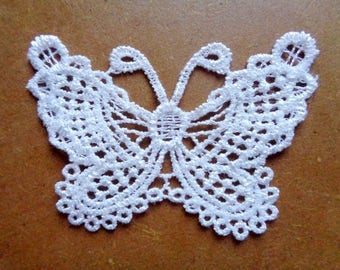 1 Butterfly lace / lace - applique for sew - 7 x 5 cm - white