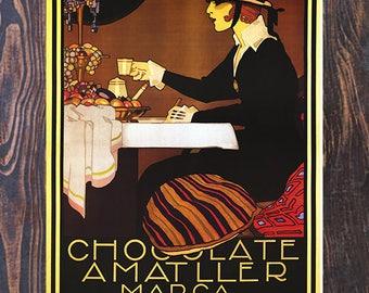 Chocolate Amatller Marca Luna Vintage Coffee Ad, Vintage Cafe Ad, Chocolate Ad, Vintage Art , Giclee Art Print, Fine Art Reproduction
