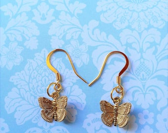 Butterfly Earrings / Butterfly Gifts /Mothers Day Gift / 14k Gold Plated Jewelry / Spring Wedding Jewelry /  Gift for Girl / Moth Jewelry