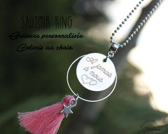 Coral tassel with engraving, custom necklace
