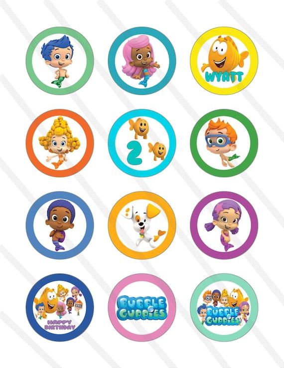 Bubble Guppies cumpleaños fiesta 2 pulgadas Cupcake