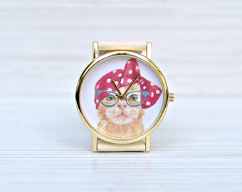 Cat gift. Cat jewelry. Cat lover. Cat watch. Women watch. Crazy cat lady. Cat with glasses. Tabby cat. Unique gift for woman. Gift for her
