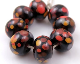 Burning Embers SRA Lampwork Handmade Artisan Glass Donut/Round Beads Made to Order Set of 8 8x12mm
