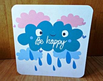 Carte double 'Be Happy' fait main 15cm x 15cm