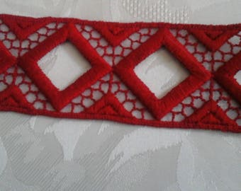 Pretty organza lace embroidered in red