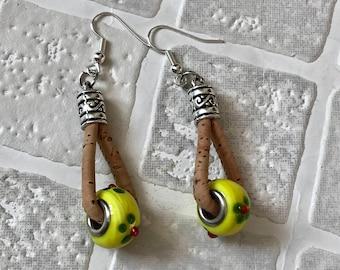Cork Dangle earrings | Cork and beads | Cork cord | Dangles earrings | Portuguese cork earrings | Hanging earrings | Statement jewellery