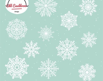 Snowflakes clipart, Christmas clipart, holiday clipart, winter vector clipart, vector images, vector graphics CL005
