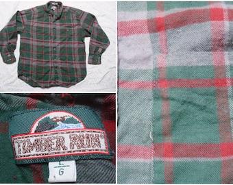 Vintage Retro Men's Columbia Blue Brown White Plaid Cotton Long Sleeve Shirt Large 7u614nYK
