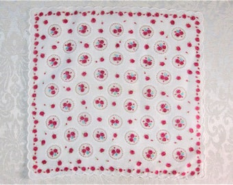Vintage Handkerchief ~  Pink and Red Cameo Roses ~ Scalloped Floral Hankie ~ Mid Century Clothing Accessories ~ Retro Mod