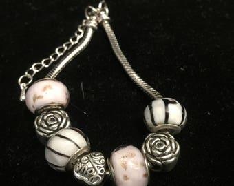 Lampworked Glass Beaded Bracelet