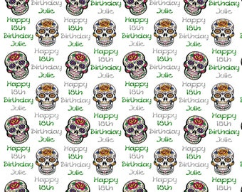 Personalised Wrapping Paper Candy Skulls Sugar Skulls Birthday Gift Wrap With Own Name