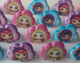 24 LITTLE CHARMERS Hazel Posie Lavender rings for cupcake toppers cake birthday party favors goodie bags Nickelodeon Nick Jr. Charmville