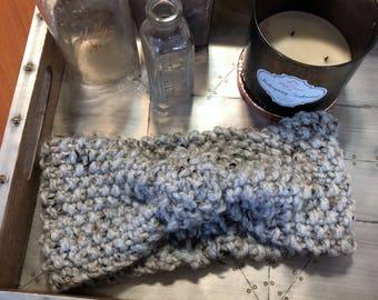 Hand knit ear warmer, bow headband, chunky knit headband