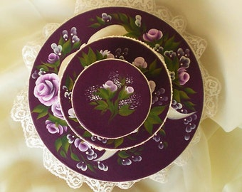 Stacking Hat Box Set of 3 - Hand Painted Pink Purple Roses with Lace Trim - Bedroom Storage Guest Room Decor Gift