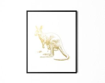 REAL GOLD FOIL Kangaroo Foil Print, Australian Kangaroo Real foil print