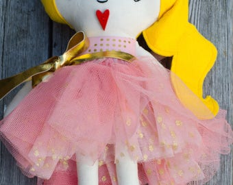Rag doll, ballerina doll, dolls, cloth doll, handmade doll, pink, white, blonde hair, gift for a girl, birthday gift, tutu outfit, baby doll