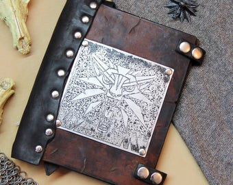 Brown leather Witcher notebook with replaceable sheets block