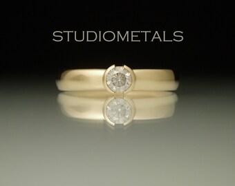 Yellow Gold Engagement Ring, Diamond Engagement Ring, Simple Engagement Ring, Diamond Bezel Engagement Ring, R590