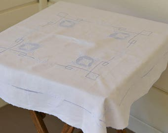 """White Tablecloth, Vintage Table Topper, Blue and White Cloth, 34"""" by 34"""", Vintage Table Linens"""