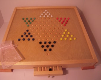 Beautiful Chinese Checker Game board with storage and 60 glass marbles