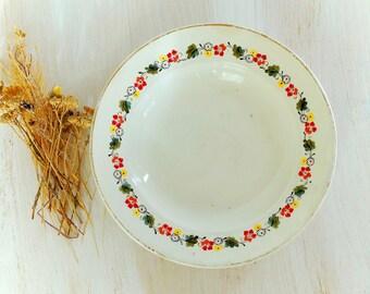 Vintage dinner plate Farmhouse kitchen decor Old Stoneware Dinnerware 1960's Soviet era Cottage decor