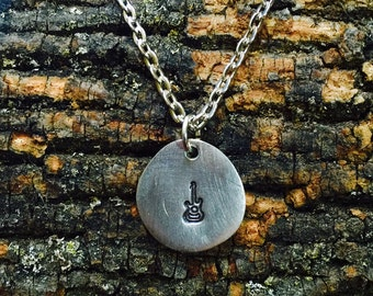 Guitar Stamped Charm Necklace