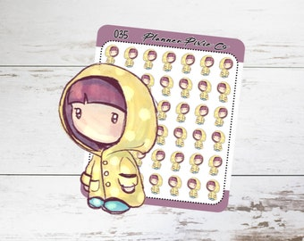 Planner Girl Stickers, Rain, Storm, Bad Weather 035