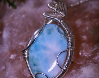 Larimar wrapped in Fine Silver