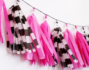 Pink, Black, and White Tassel Garland    Tassel Banner   Bridal Shower Decor   Birthday Party Decor   Party Supplies   Pink Party Decor