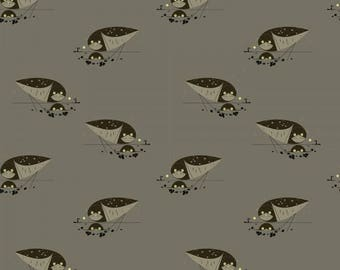 Organic KNIT Fabric - Charley Harper Western Birds - Burrowing Owl Knit