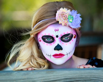 Made to order Day of the dead sugar skull flower headband choose size photography topper prop all souls day calavera