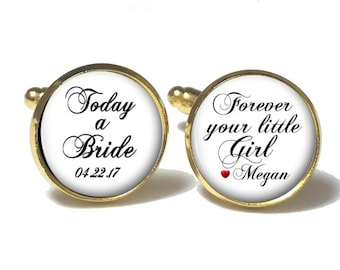 Father of the Bride Cufflinks, Personalized Cufflinks, Wedding Cuff links, Style 683