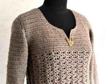 Crochet tunic pattern, crochet adult tunic top, crochet women sweater, crochet top pattern, Ashley tunic - pattern no. 93
