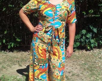 Culottes,geometric,orange,blue,yellow,small,rayon,jumper