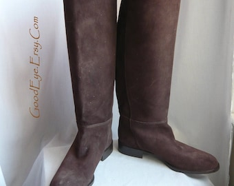 Vintage Brown Suede Knee Boots / size 8 M Eu 38 .5 UK 5 .5 / Leather Made in ITALY / Flat Heel Riding Boot Small Calves