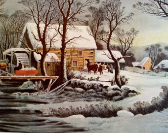 Winter In The Country The Old Grist Mill 1952 Currier & Ives Print 11 x 15 1800s Book Reprint to Frame