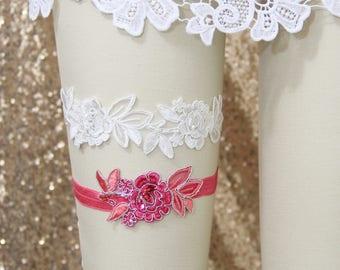 Ivory and Hot Pink Beaded Lace Wedding Garter Set, Ivory Garter Set, Ivory Wedding Garter, Pink Lace Wedding Garter Belt/ GT-34
