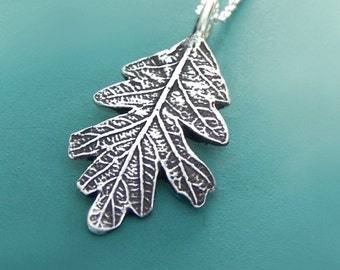 Oak Leaf Necklace in Sterling Silver Free Shipping, Gardening Gift
