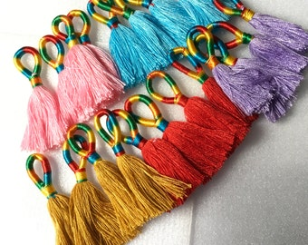 Sale price.Bulk 10 pcs Mini tassels , jewelry making,charms, pendants,keychain,and more