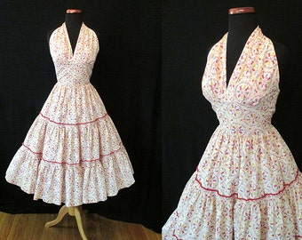 "Adorable 1950's HalterTop Novelty Print Cocktail Party Dress by ""Patio n' Party"" circle skirt  Rockabilly VLV Pinup Girl Vixen Size-Small"