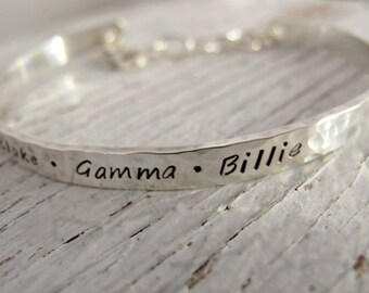 Handstamped Cuff Bracelet, Personalized Bracelet, Mother's Bracelet, Grandma Bracelet, Kids Names, Christmas Gift