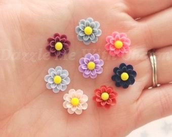 13mm resin flower cabochons flatback mixed Victorian color variety decoden jewelry embellishment supply phone case scrapbooking *8pcs*