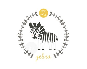 Z is for zebra, letter print, nursery decor, instant download birth print, cute name print, bunting, diy name banner