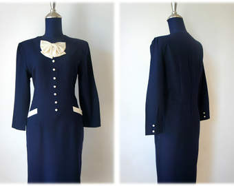 60'S Vintage Navy Blue Preppy Dress with Exaggerated Bow // Size L