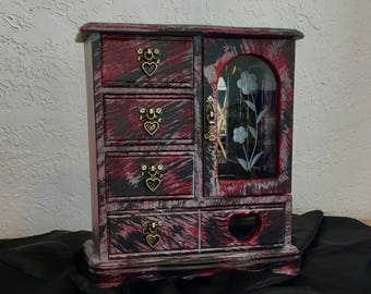 Gothic vintage jewelry armoire , jewelry box, painted, edgy, punk, bohemian, gypsy, vintage jewelry box, wooden jewelry box, upcycled