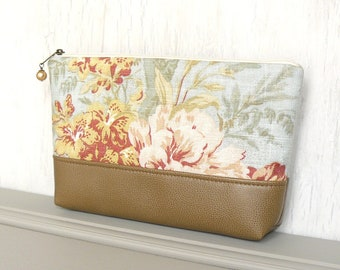 Zipper Pouch, Large Cosmetic Pouch, Zippered Makeup Bag - Cottage Garden in Aqua, Tan and Rose