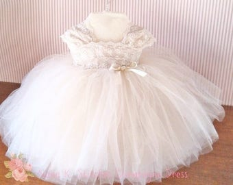 Champagne Toddler Lace Tulle Dress,  Flowergirl Special Occasion, Baby Pageant Dress, Party Dress