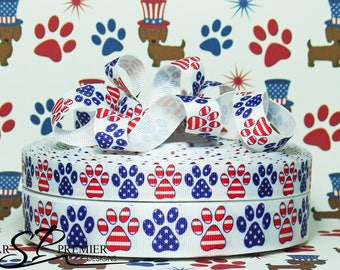 """5/8"""" or 7/8""""  Patriotic Dog Grosgrain Ribbon"""